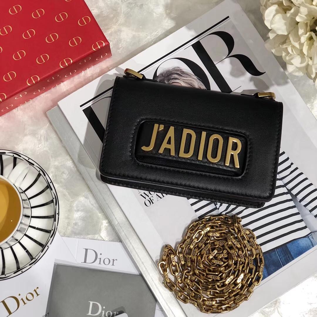 迪奥包包官网 Dior新款黑色牛皮Mini Jadior链条单肩包斜挎女包 金链