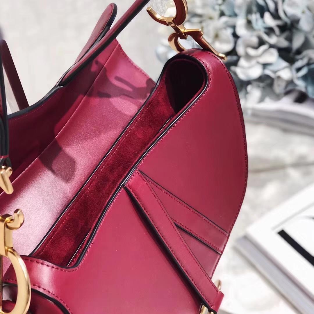 迪奥女包批发 Dior Saddle Bag 红色进口顶级牛皮单肩女包马鞍包大号26CM