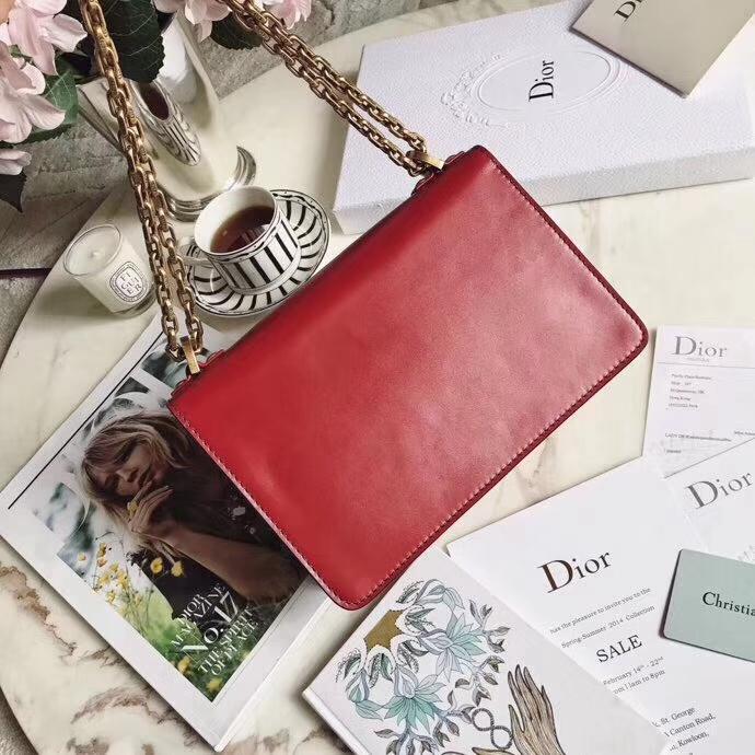Dior包包官网 迪奥新款红色牛皮Jadior复古链条单肩女包手拿包24CM 金链