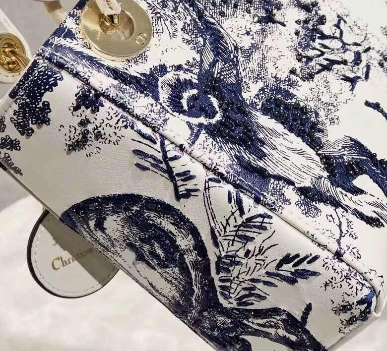 迪奥2019早春新款 mini Lady Dior老虎图案新款戴妃包链条单肩斜挎女包17CM