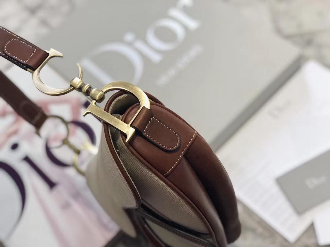 迪奥19年新款女包 Dior Saddle马鞍包 米白色帆布配皮中古单肩包26CM