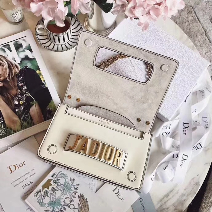 迪奥女包价格 Dior Jadior新款牛皮链条手包单肩包24CM 白色金链