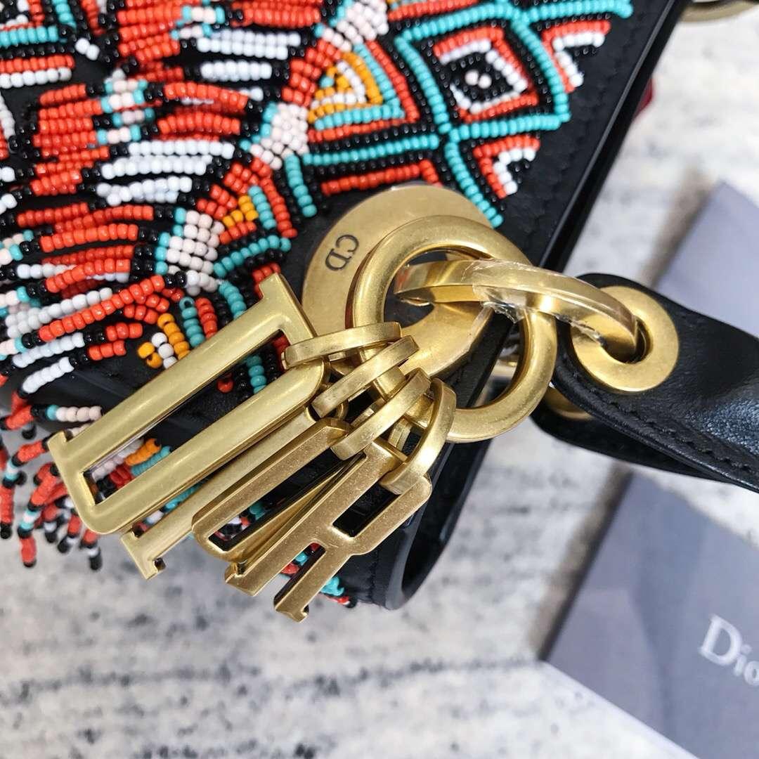 迪奥新款戴妃包 Dior Lady波西米亚流苏包三格迷你戴妃包Mini17CM