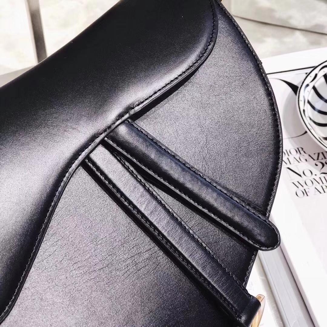 Dior新款女包 迪奥牛皮马鞍包 复古女士单肩斜挎包大号26CM 黑色