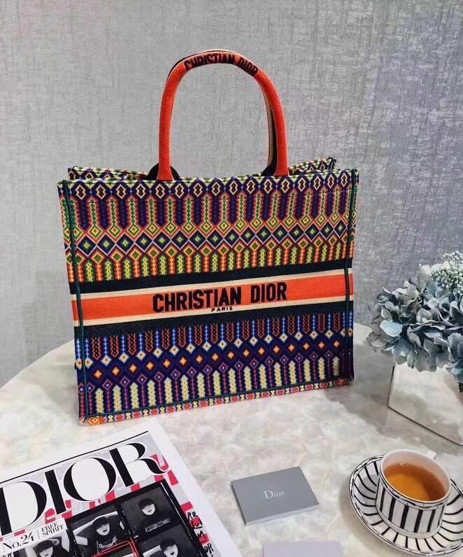 Dior Book Tote 迪奥彩色几何图案提花帆布手袋手提旅行袋购物包42CM
