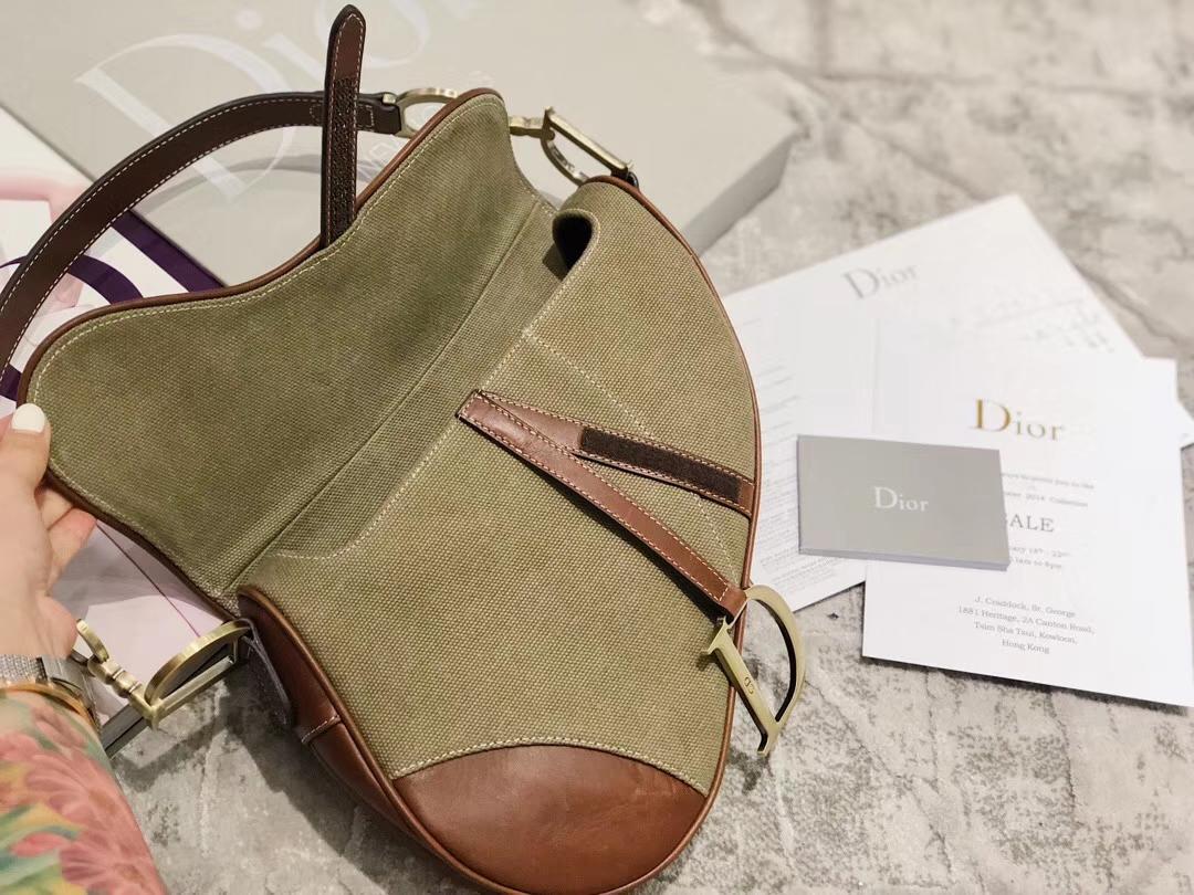 Dior Saddle Bag 迪奥军绿色帆布配皮复古马鞍包单肩斜挎女包26CM