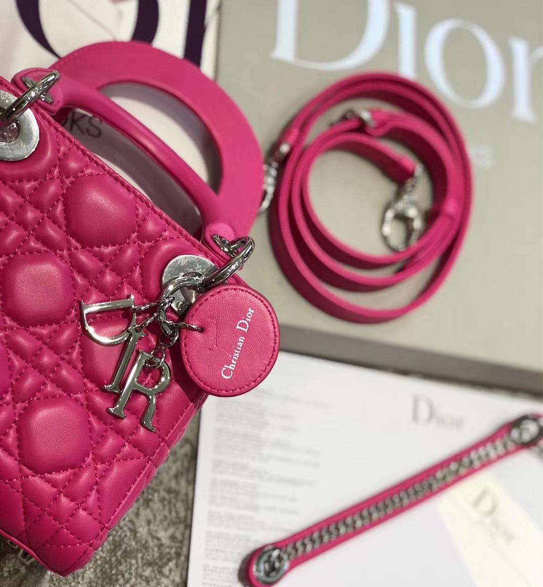 Mini Lady Dior 迪奥经典羊皮三格戴妃包链条单肩斜挎女包17CM 玫红色银扣