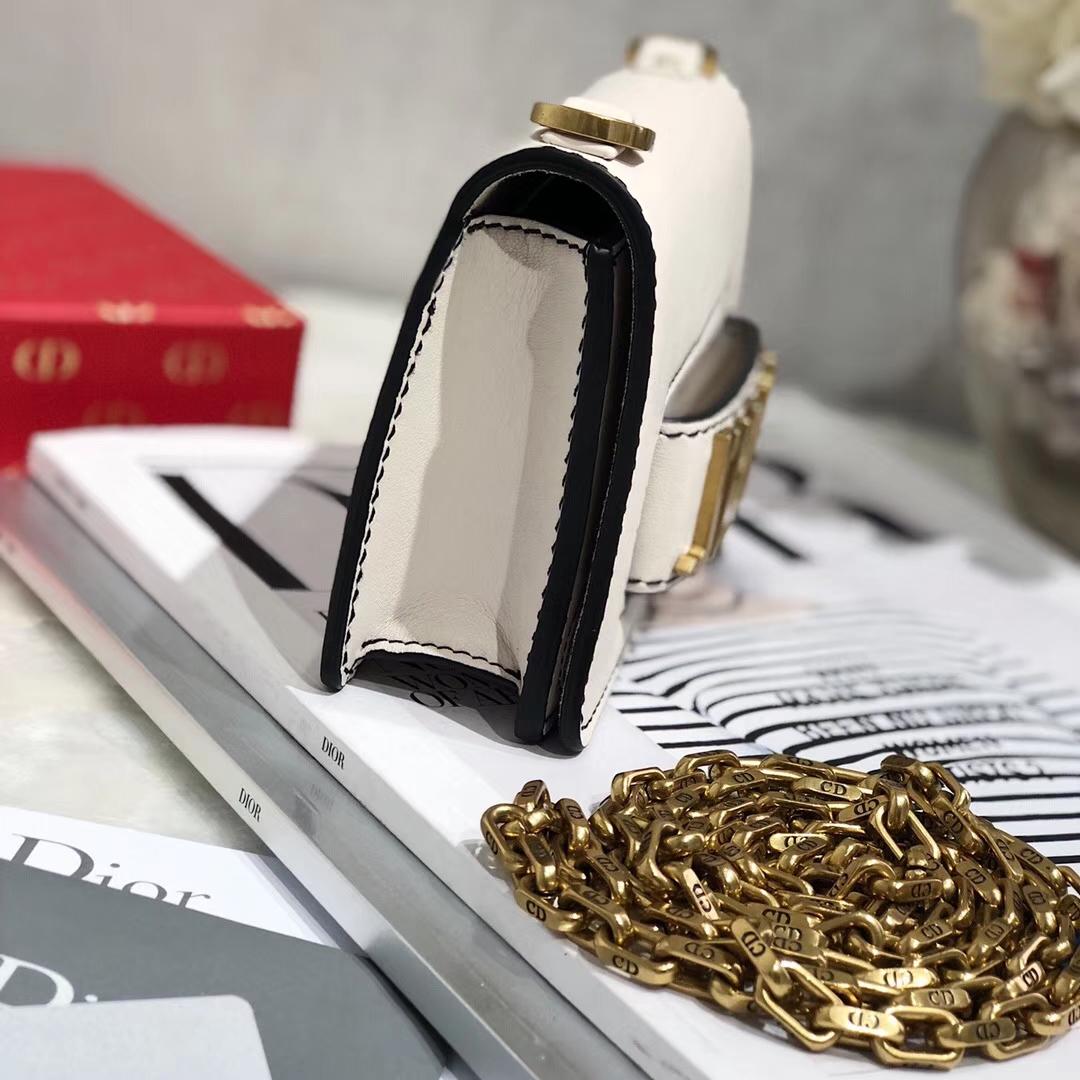 Mini Jadior Dior迪奥白色牛皮翻盖复古链条包Jadior单肩女包18CM 金链