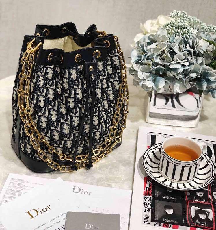 Dior水桶包 迪奥新款经典帆布Logo Oblique小福袋链条单肩女包大号21.5CM