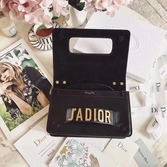 Dior新款女包 迪奥黑色牛皮Jadior金色复古链条单肩包手包24CM
