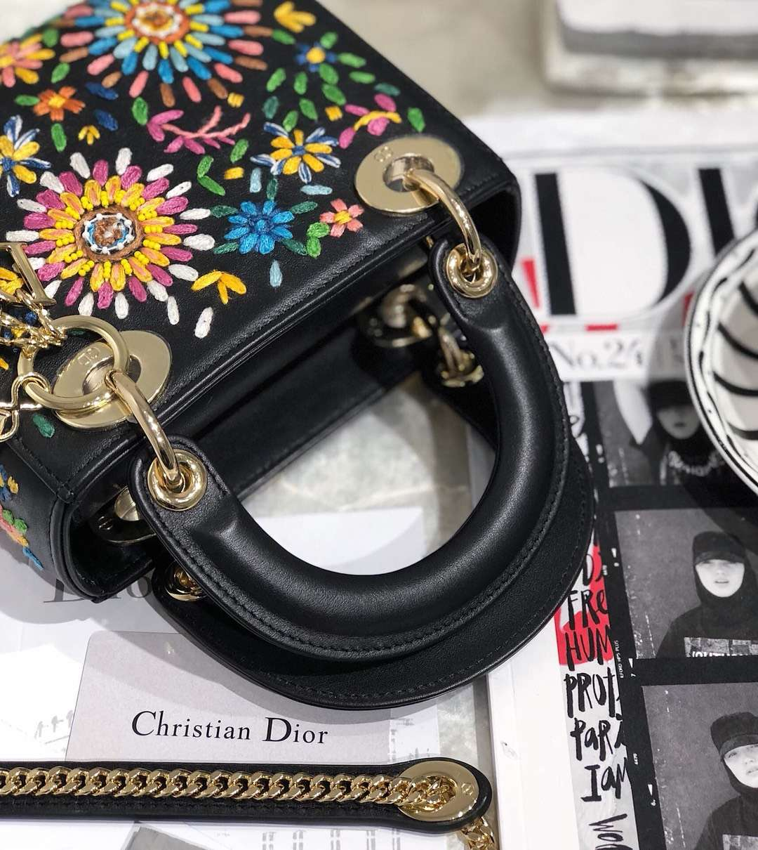 Dior2019早春限量版女包 迪奥七色堇刺绣黑色牛皮迷你戴妃包Lady Dior mini17CM