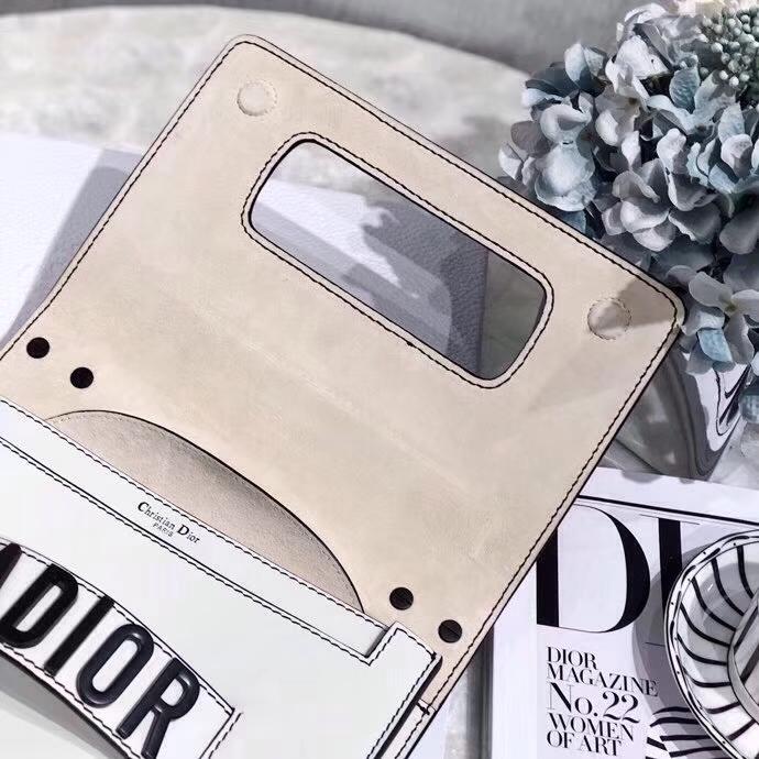 Dior新款女包 迪奥So Black极致黑系列Jadior链条单肩斜挎包手包24CM 白色