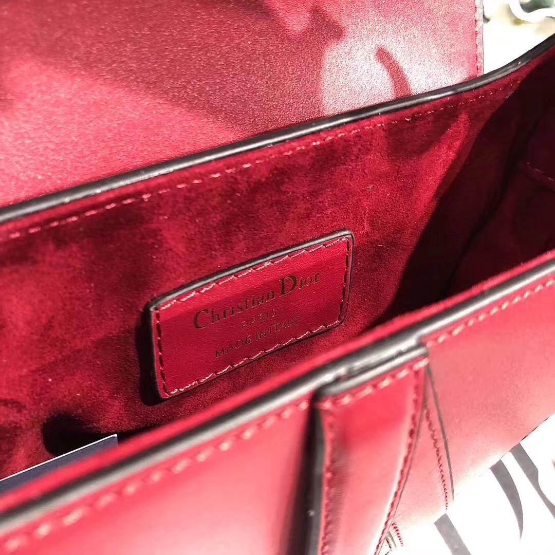 Dior小号马鞍包 迪奥新款单肩女包 红色顶级牛皮真皮包包小号20CM